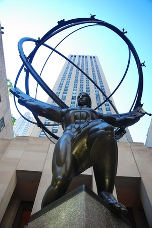 titans: NEW YORK CITY - SEP 5: Fifth Avenue, as a symbol of wealthy New York and one of the most expensive streets in the world, with Atlas statue, September 5, 2009 in Manhattan, New York City.