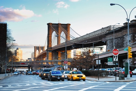 NEW YORK CITY - AUG 8: The Brooklyn Bridge, the first steel-wire suspension bridge, is one of the oldest in the United States. August 8, 2010 in Manhattan, New York City. Stock Photo - 8533026