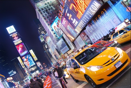 advertise with us: NEW YORK CITY - SEP 5: Times Square, featured with Broadway Theaters and  animated LED signs, is a symbol of New York City and the United States,  September 5, 2009 in Manhattan, New York City.