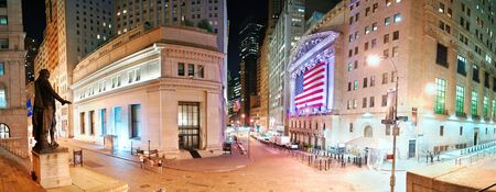 capitalization: NEW YORK CITY - AUG 8: Wall Street New York Stock Exchange panorama, the worlds largest stock exchange by market capitalization of its listed companies, at night. August 8, 2010 in Manhattan, New York City. Editorial