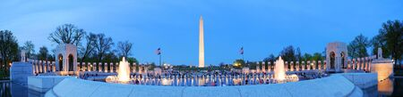 washington: WASHINGTON DC - APR 4, Washington monument panorama and WWII memorial , which is dedicated to Americans who served in the armed forces and as civilians during World War II, April 4, 2010 in Washington DC.