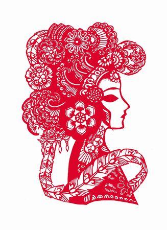 중국 종이 - 잘라 아트와 여자 초상입니다. 스톡 콘텐츠 - 8550887