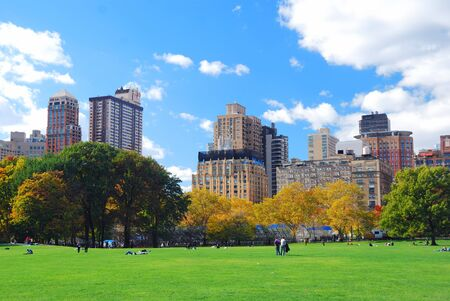 New York City Manhattan Central Park panorama in Autumn with colorful trees and skyscrapers. Stock Photo