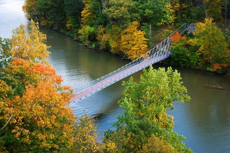 high view: Hudson River valley in Autumn with colorful mountain and Bridge over Hudson River. Stock Photo