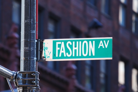 New York City Fashion avenue road sign in midtown Manhattan photo