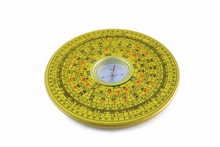 chinese astrology: Chinese compass closeup with chinese character Stock Photo