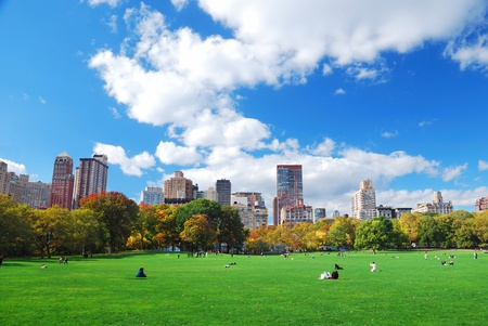 New York City Manhattan Central Park panorama in Autumn with colorful trees and skyscrapers. photo