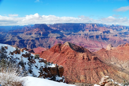 Grand Canyon panorama view in winter with snow and clear blue sky. Stock Photo - 8587293