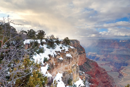 Grand Canyon panorama view in winter with snow and clear blue sky. Stock Photo - 8586276