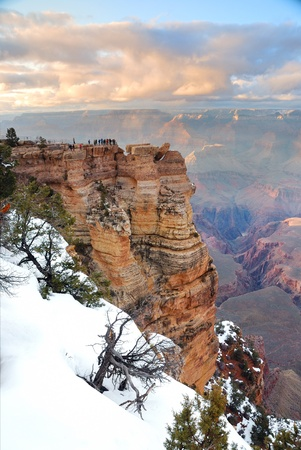 Grand Canyon panorama view in winter with snow and clear blue sky. Stock Photo - 8586280