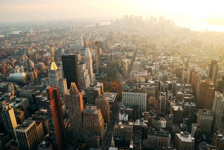 city of sunrise: New York City Manhattan panorama aerial view with skyline at sunset.