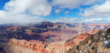 Grand Canyon panorama view in winter with snow and clear blue sky. Stock Photo - 8586289