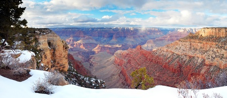 Grand Canyon panorama view in winter with snow and clear blue sky. Stock Photo - 8587302