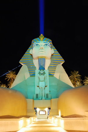 LAS VEGAS - MAR 4: Statue of Sphinx blue beam from Luxor Hotel Casino, March 4, 2010 in Las Vegas, Nevada. The Luxor is among the most recognizable hotels on the popular Vegas strip because of its striking design and bright light.