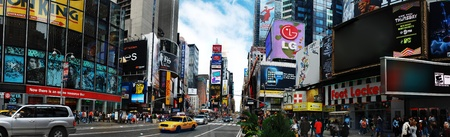 panoramic business: NEW YORK CITY - SEP 5: Times Square, featured with Broadway Theaters and huge number of LED signs, is a symbol of New York City and the United States, September 5, 2009 in Manhattan, New York City. Editorial