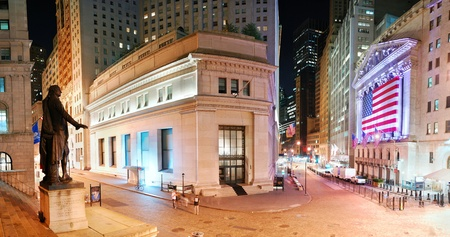 NEW YORK CITY - AUG 8: Wall Street New York Stock Exchange panorama, the worlds largest stock exchange by market capitalization of its listed companies, at night. August 8, 2010 in Manhattan, New York City.