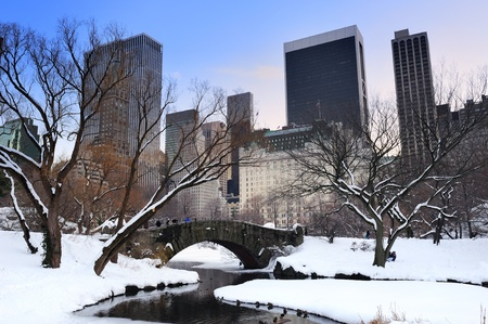 january sunrise: New York City Manhattan Central Park panorama in winter with snow, bridge; freezing lake and skyscrapers at dusk. Stock Photo