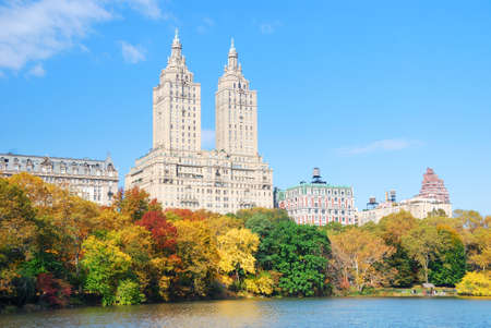 New York City Manhattan Central Park panorama in Autumn lake with skyscrapers and colorful trees with reflection. Stock Photo - 8885412