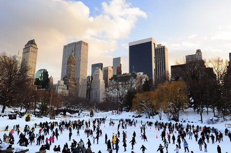 iceskating: NEW YORK CITY, NY - JAN 1: People skate on ice with white Christmas in Central Park welcome the new year of 2010 on January 1, 2011 in Manhattan, New York City.
