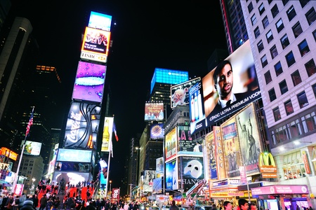 NEW YORK CITY, NY - JAN 30: Times Square is featured with Broadway Theaters and LED signs as a symbol of New York City and the United States. January 30, 2011 in Manhattan, New York City.  Stock Photo - 8790812