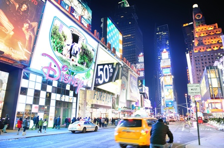 NEW YORK CITY, NY - JAN 30: Times Square is featured with Broadway Theaters and LED signs as a symbol of New York City and the United States. January 30, 2011 in Manhattan, New York City.  Stock Photo - 8790693