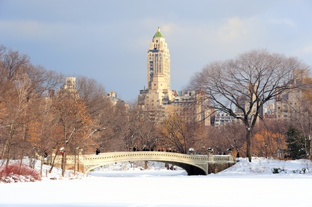 december: New York City Manhattan Central Park in winter with snow and city skyline with skyscrapers, bridge and cloudy sky.