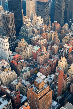 New York City Manhattan skyline aerial view with street and skyscrapers at sunset. Stock Photo - 9189446
