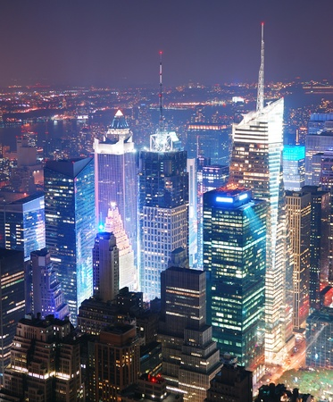 New York City Manhattan Times Square skyline aerial view panorama at night with skyscrapers and street. photo