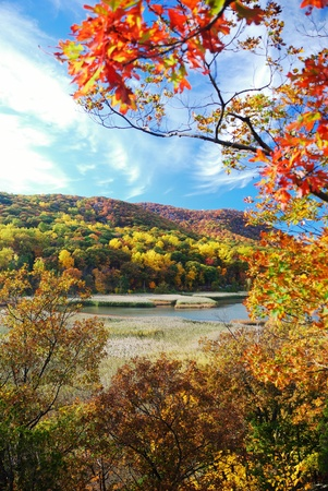 Autumn Mountain with lake view and colorful foliage in forest. Stock Photo - 9189206