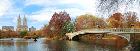 New York City Manhattan Central Park panorama at Autumn with skyscrapers, foliage, lake and Bow Bridge. Standard-Bild