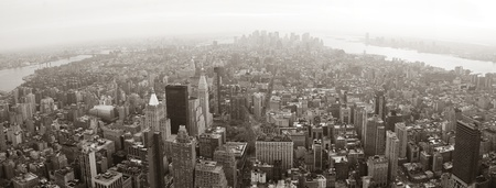 panorama view: New York City Manhattan skyline aerial view panorama black and white with skyscrapers and street. Stock Photo
