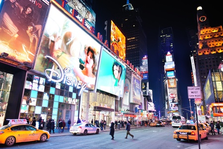 NEW YORK CITY, NY - JAN 30: Times Square is featured with Broadway Theaters and LED signs as a symbol of New York City and the United States. January 30, 2011 in Manhattan, New York City.  Stock Photo - 9158185