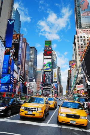 tourist attractions: NEW YORK CITY - SEP 5: Times Square, featured with Broadway Theaters and LED signs, is a symbol of New York City and the United States, September 5, 2010 in Manhattan, New York City.