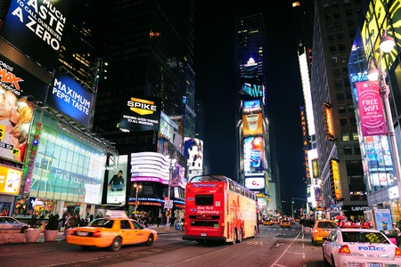 NEW YORK CITY, NY - JAN 30: Times Square is featured with Broadway Theaters and LED signs as a symbol of New York City and the United States. January 30, 2011 in Manhattan, New York City.  Stock Photo - 9364100