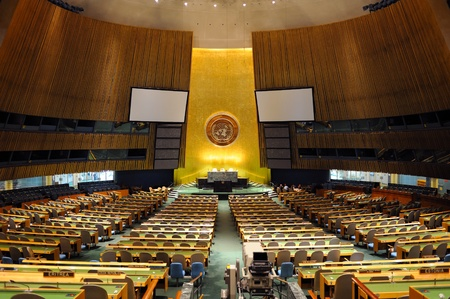 assembly hall: NEW YORK CITY, NY, USA - MAR 30: The General Assembly Hall is the largest room in the United Nations with seating capacity for over 1,800 people. March 30, 2011 in Manhattan, New York City.