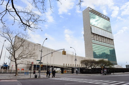 NEW YORK CITY, NY, USA - MAR 30: The United Nations complex was designed by an international team of 11 architects led by Wallace K. Harrison. March 30, 2011 in Manhattan, New York City.