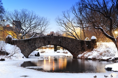 New York City Manhattan Central Park in winter with bridge over lake with snow, ducks and light at dusk. photo
