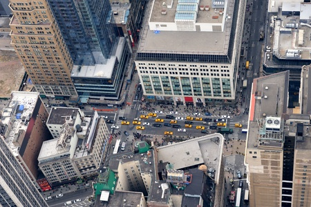 New York City Manhattan street aerial view with skyscrapers, pedestrian and busy traffic. Stok Fotoğraf