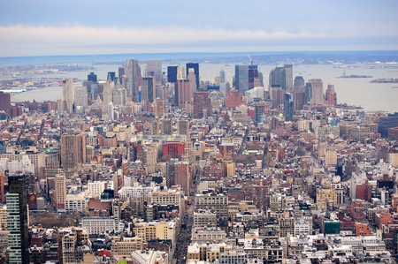 New York City Manhattan downtown aerial view with urban city skyline and skyscrapers buildings. Stock Photo - 9365941