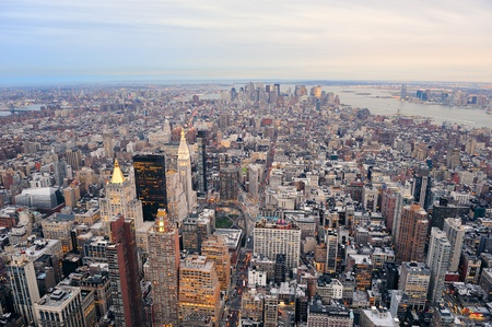 New York City Manhattan downtown aerial view with urban city skyline and skyscrapers buildings. Stock Photo - 9365931