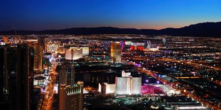 Las Vegas City skyline panorama night view with luxury hotel illuminated. photo