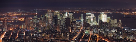 New York City Manhattan aerial panorama view at dusk with urban city skyline and skyscrapers buildings Stock Photo - 9366094