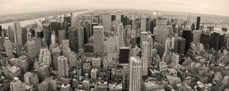 New York City Manhattan panorama aerial view at dusk with urban city skyline and skyscrapers buildings Stock Photo - 9366091