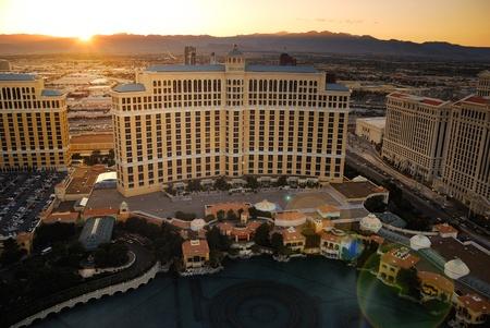 Las Vegas, Nevada - March 3:  Bellagio hotel at sunset, March 3, 2010 in Las Vegas, Nevada.