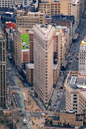 NEW YORK CITY, NY, USA - MAR 30: Flatiron Building was designed by Chicagos Daniel Burnham and was designated a New York City landmark in 1966. March 30, 2011 in Manhattan, New York City.
