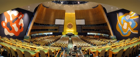 ニューヨーク市、ニューヨーク、アメリカ合衆国 - 30 年 3 月: 総会ホールは 1,800 を超える人を収容できる国際連合の最大の部屋です。2011 年 3 月 30  報道画像