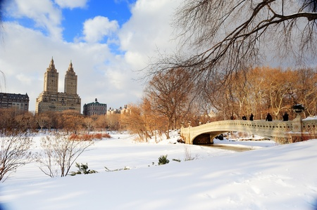 New York City Manhattan Central Park panorama in winter with ice and snow over lake with bridge,  skyscrapers and blue cloudy sky at dusk. Stock Photo