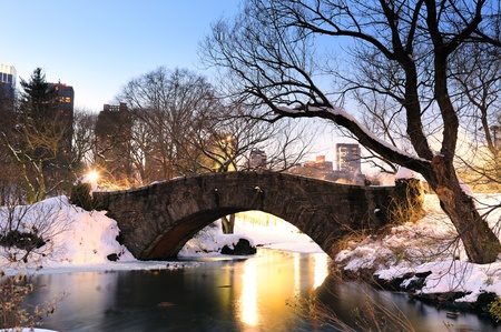 New York City Manhattan Central Park in winter with bridge. photo