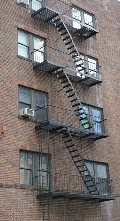 Stairway outside of old building in New York City Manhattan apartment. photo