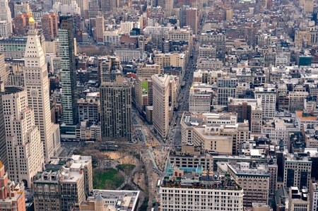 Manhattan skyline with New York City skyscrapers aerial view photo